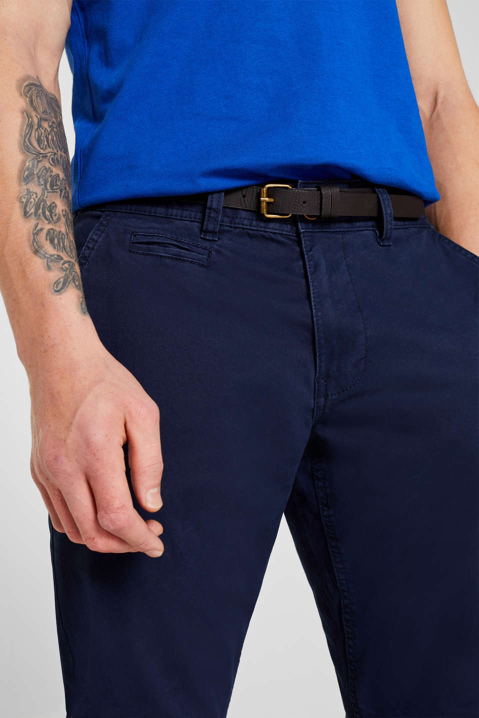 Stretch chinos with a faux leather belt, NAVY, detail image number 5