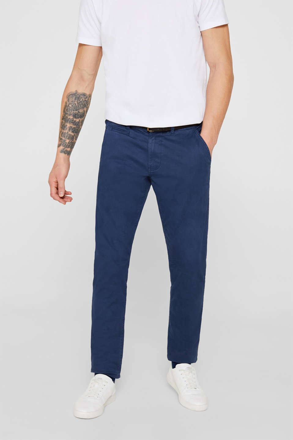Stretch chinos with a faux leather belt, DARK BLUE, detail image number 0