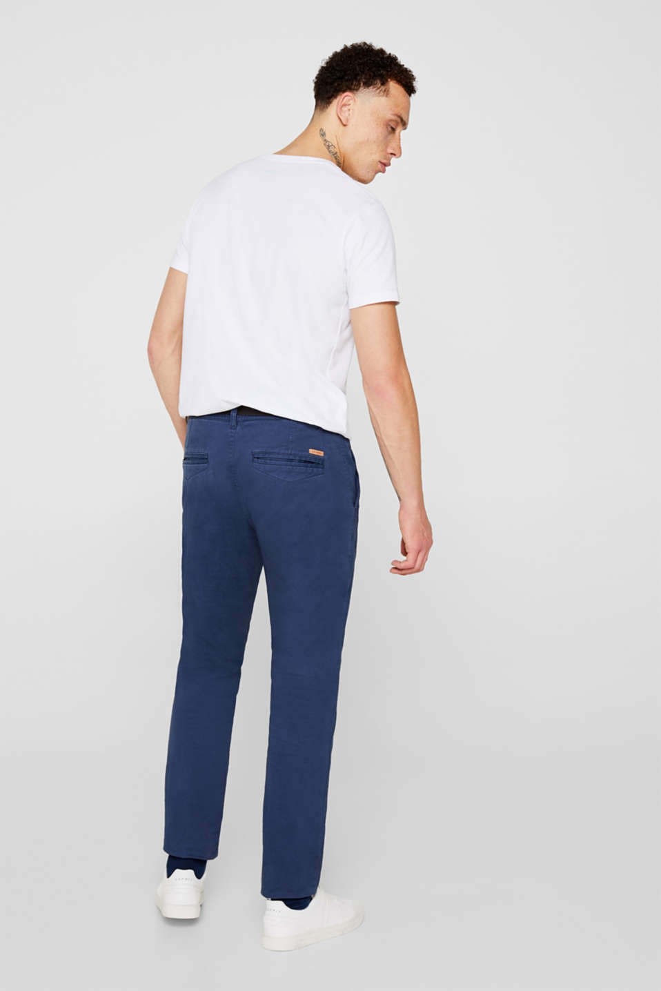 Stretch chinos with a faux leather belt, DARK BLUE, detail image number 3
