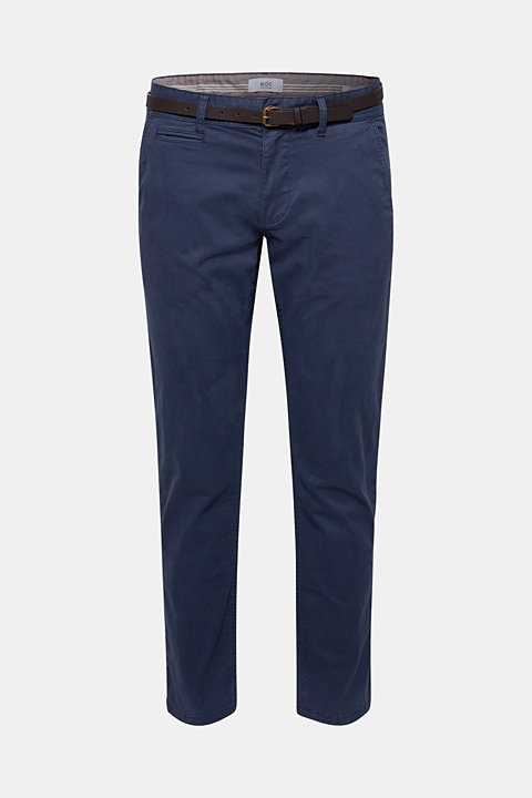 Stretch chinos with a faux leather belt