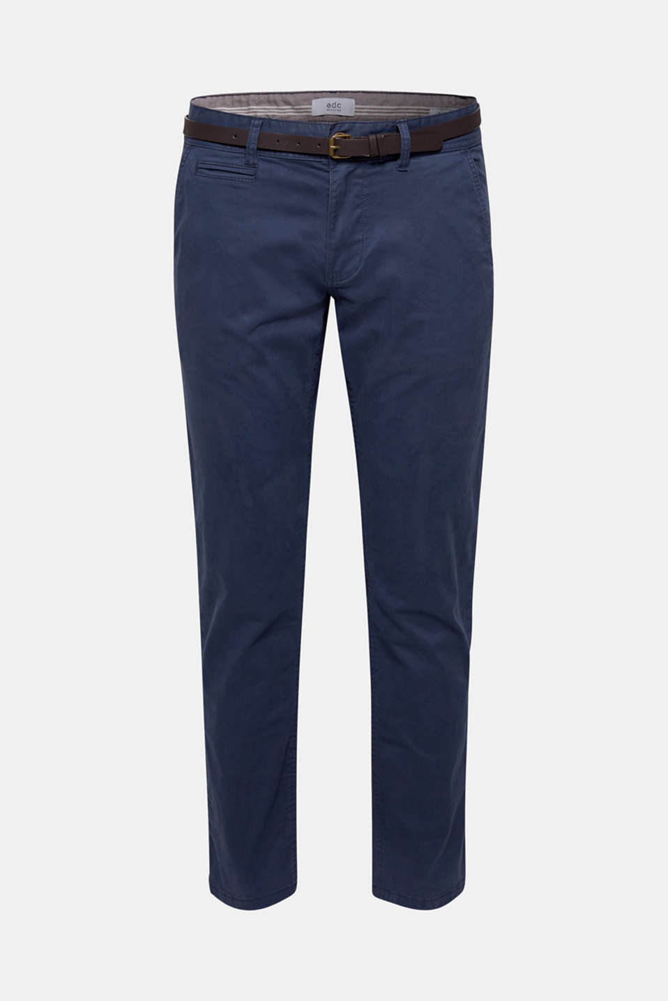 Stretch chinos with a faux leather belt, DARK BLUE, detail image number 6