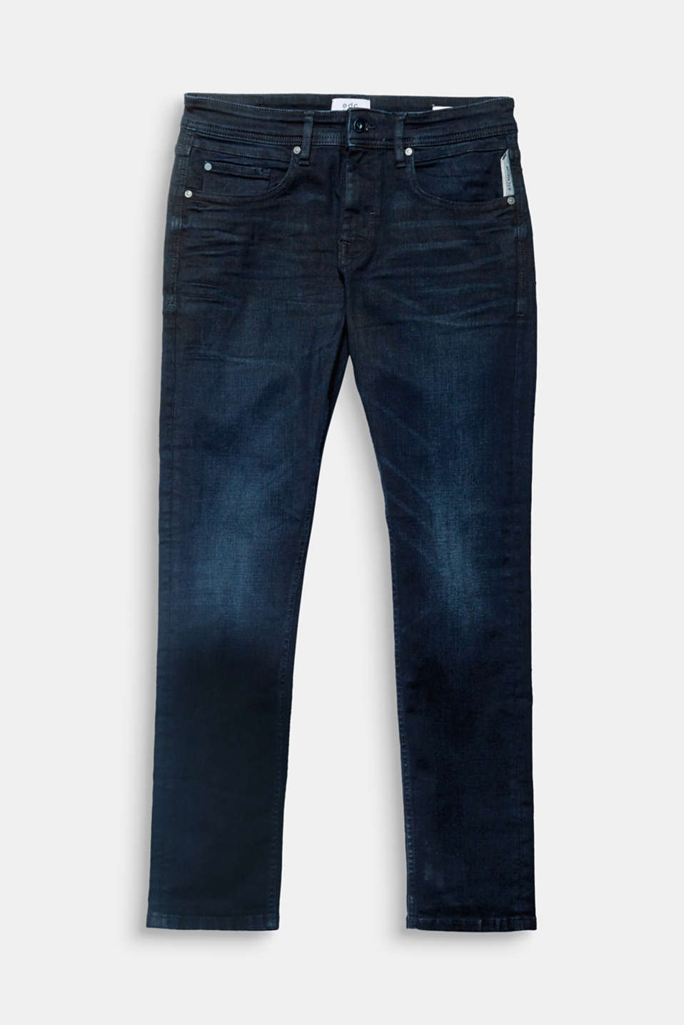 Definitive denim: stretch jeans in a dark wash with a subtle faded finish.