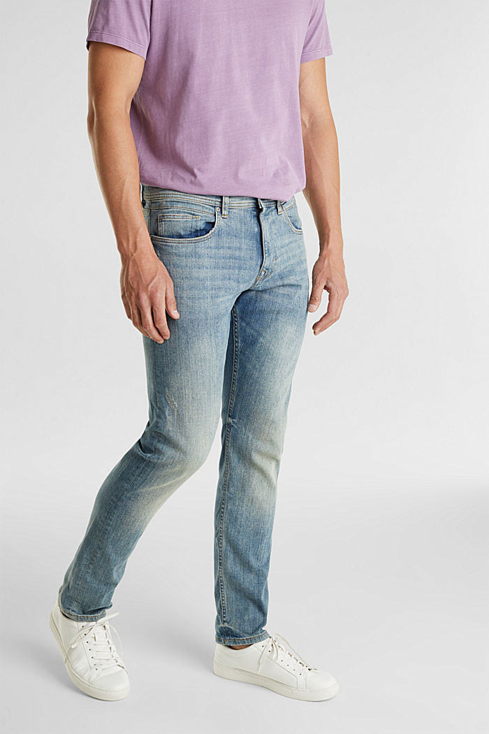 Super stretch jeans with vintage effects, BLUE LIGHT WASHED, detail image number 0