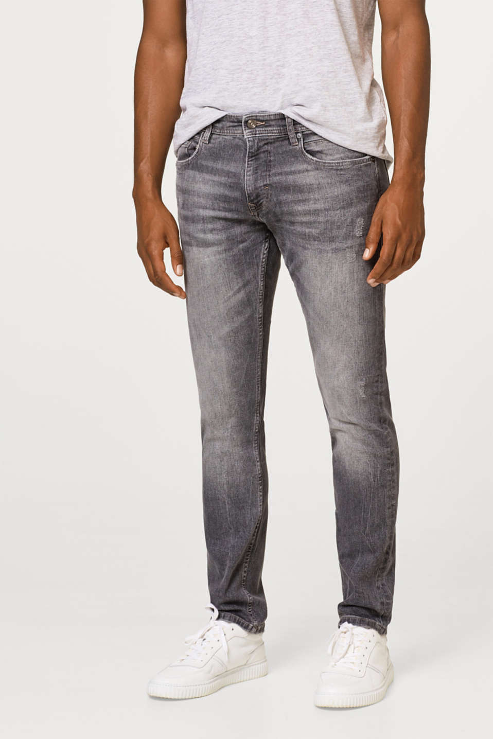 edc - Stretch-Jeans mit Used-Effekten, Organic Cotton