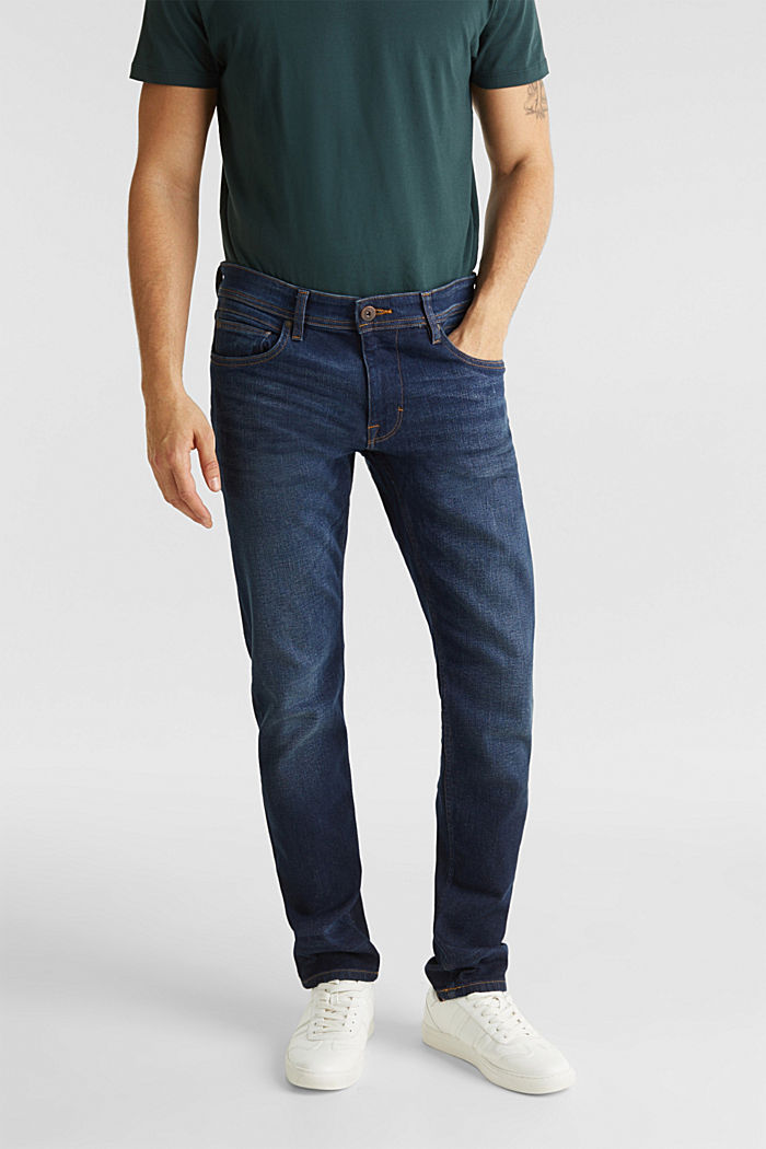 Basic jeans with stretch, BLUE DARK WASHED, detail image number 0
