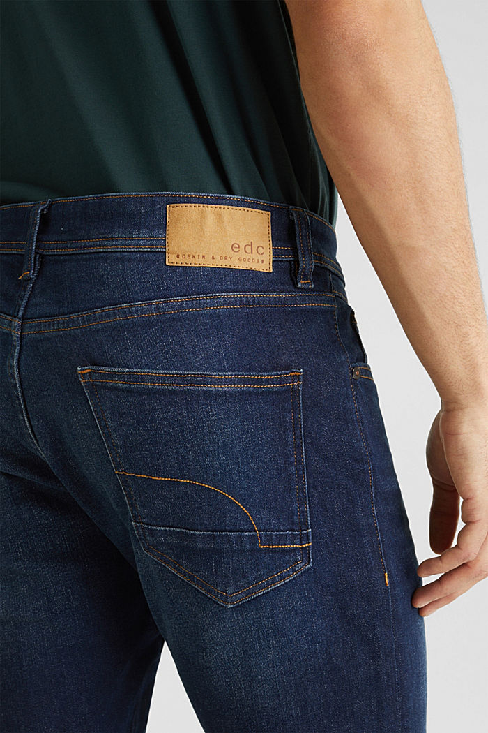 Basic jeans with stretch, BLUE DARK WASHED, detail image number 5