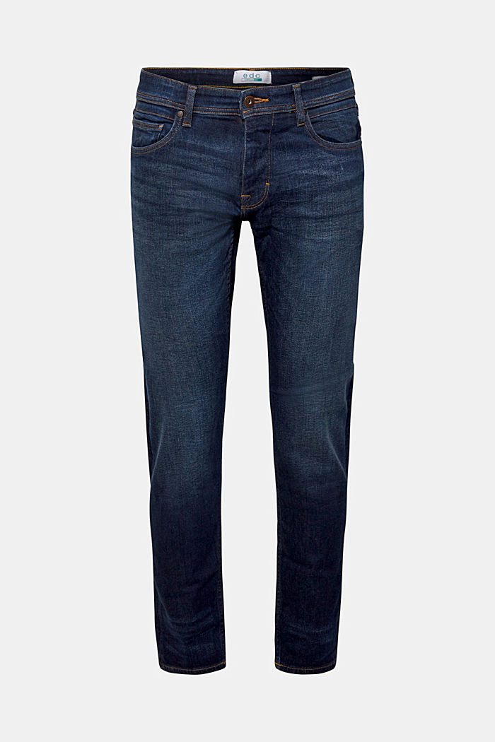 Basic jeans with stretch, BLUE DARK WASHED, detail image number 6