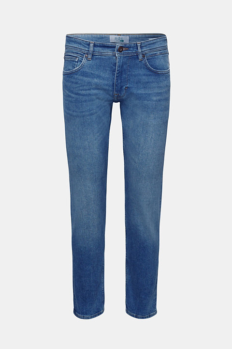 Stretch jeans with a pale garment wash
