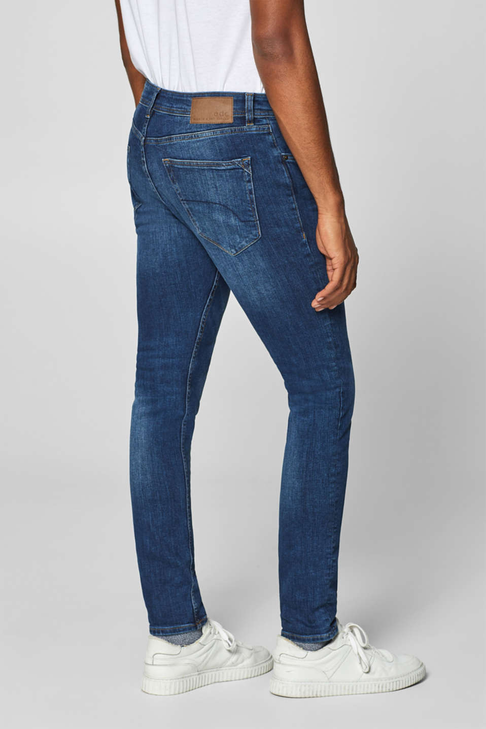 Stretch jeans containing organic cotton, BLUE DARK WASH, detail image number 1