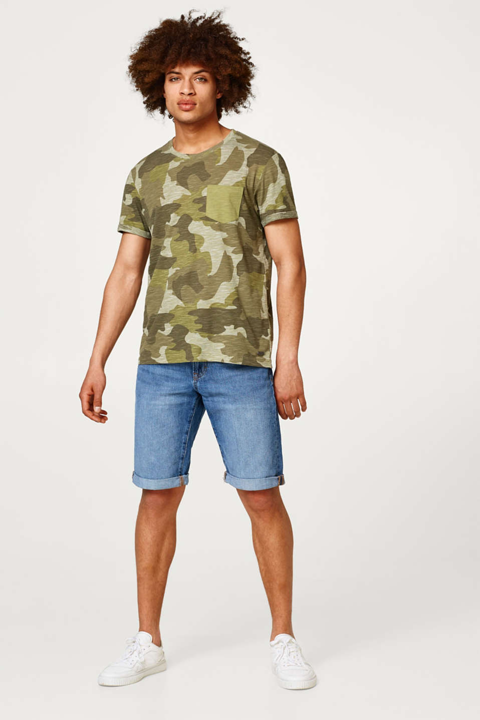 Denim shorts with a subtle garment-washed effect, in cotton
