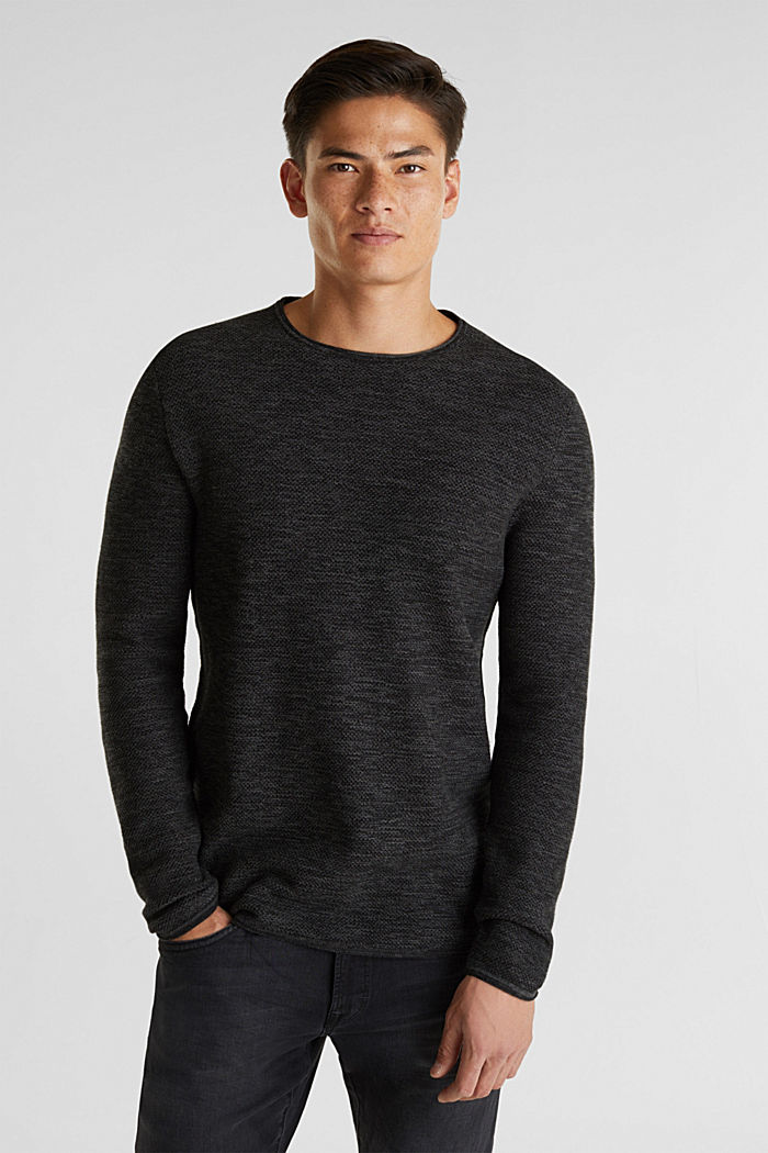 Textured jumper made of 100% cotton, BLACK, detail image number 0