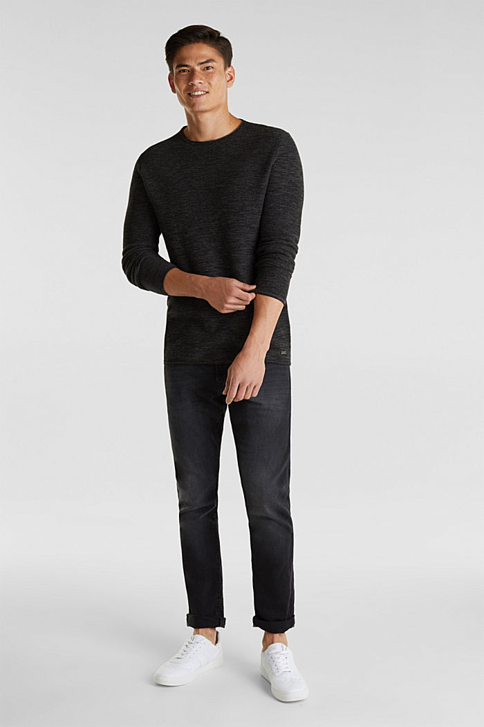 Textured jumper made of 100% cotton, BLACK, detail image number 1