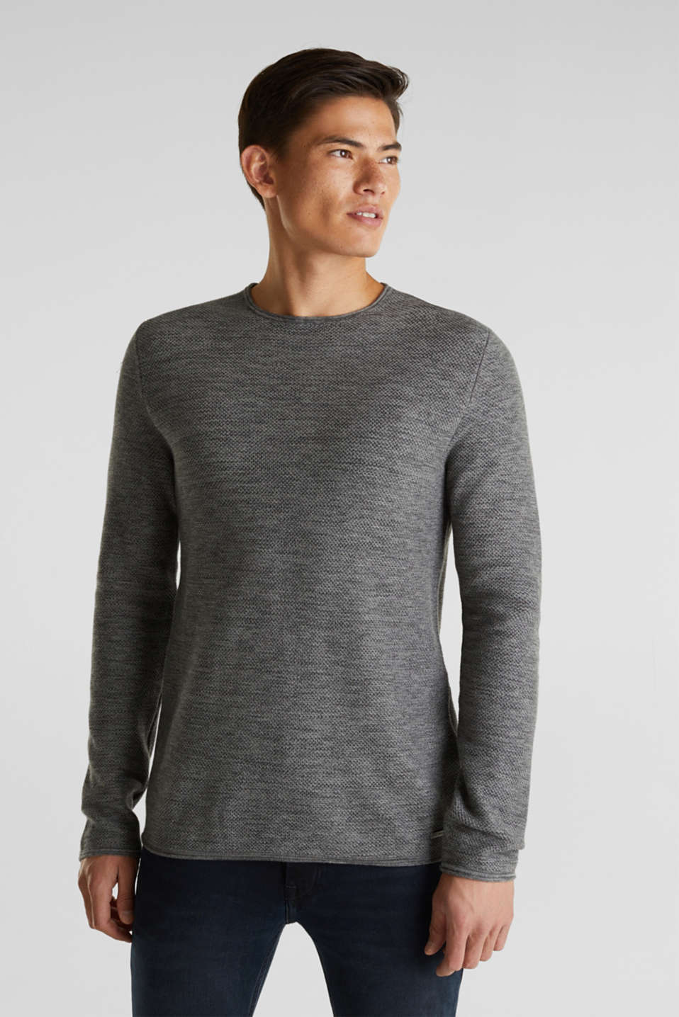 Textured jumper made of 100% cotton, MEDIUM GREY, detail image number 0