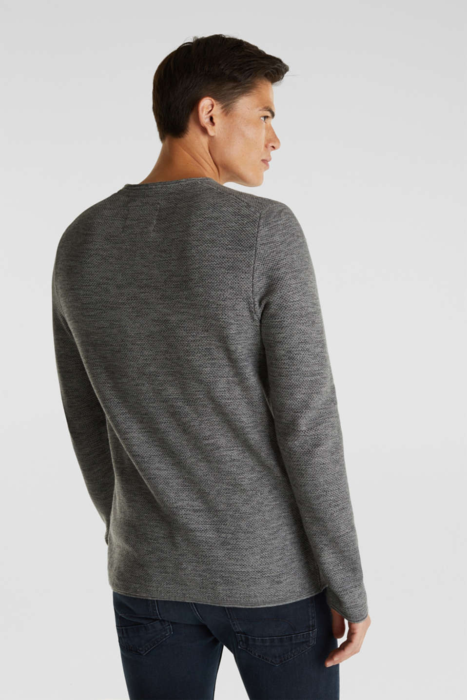 Textured jumper made of 100% cotton, MEDIUM GREY, detail image number 3