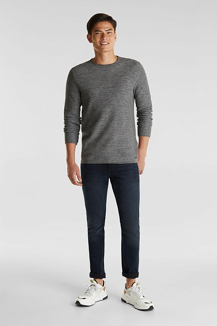 Struktur-Sweater aus 100% Baumwolle, MEDIUM GREY, detail image number 1