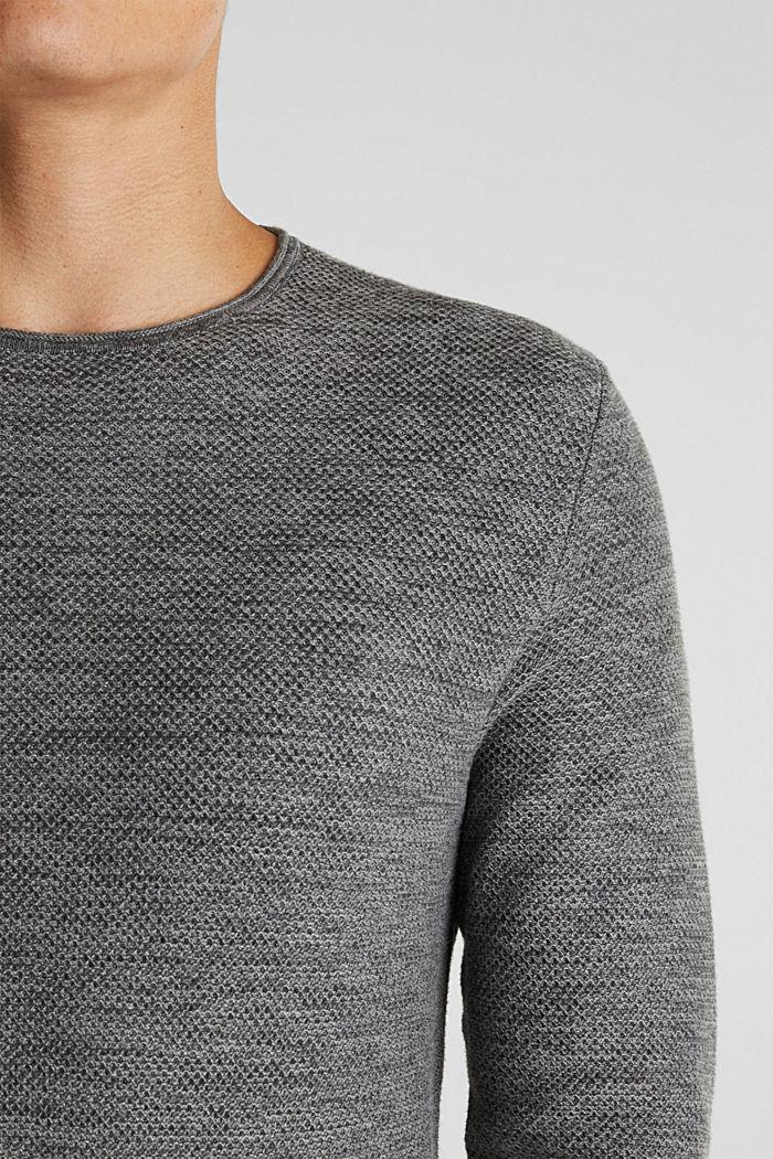 Struktur-Sweater aus 100% Baumwolle, MEDIUM GREY, detail image number 2