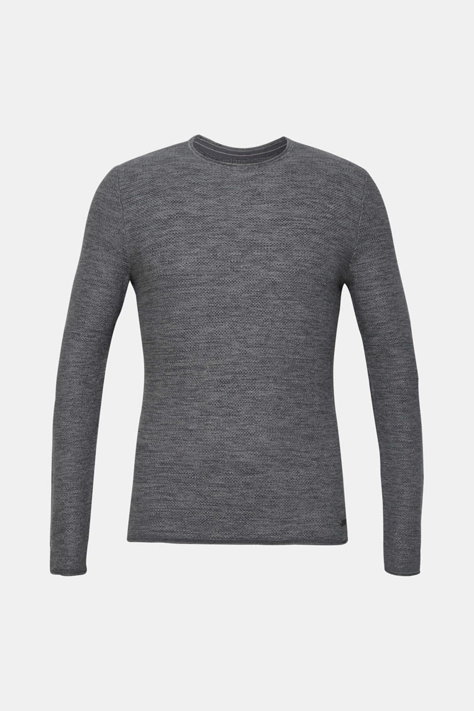 Textured jumper made of 100% cotton, MEDIUM GREY, detail image number 5