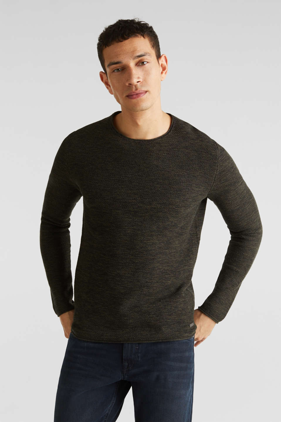 Textured jumper made of 100% cotton, KHAKI GREEN, detail image number 0