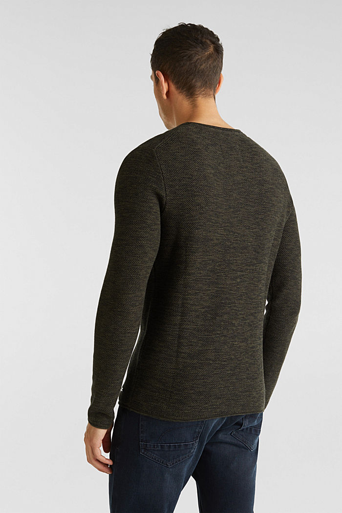 Textured jumper made of 100% cotton, KHAKI GREEN, detail image number 3