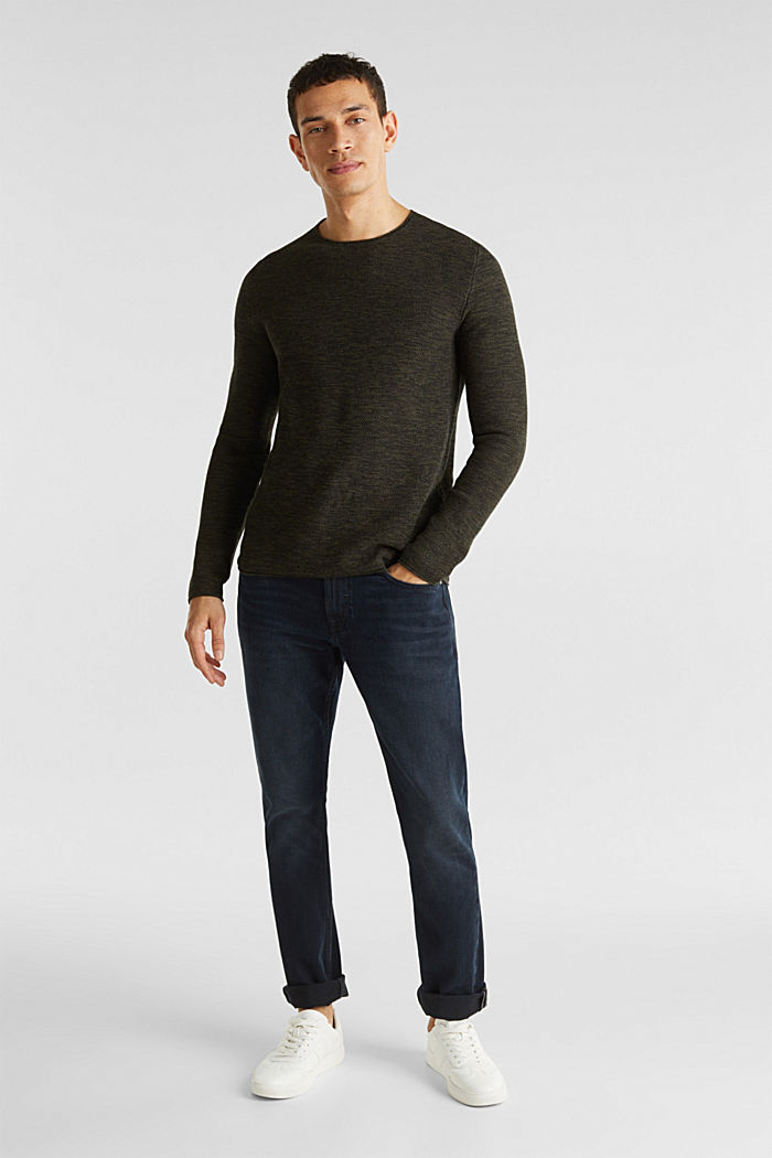 Textured jumper made of 100% cotton, KHAKI GREEN, detail image number 1