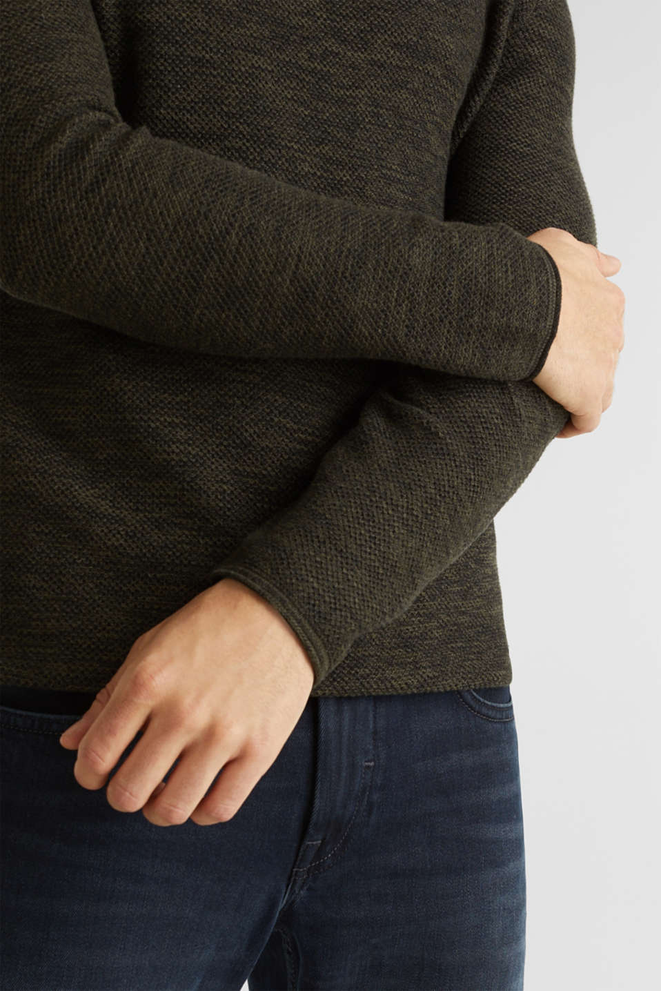Textured jumper made of 100% cotton, KHAKI GREEN, detail image number 2
