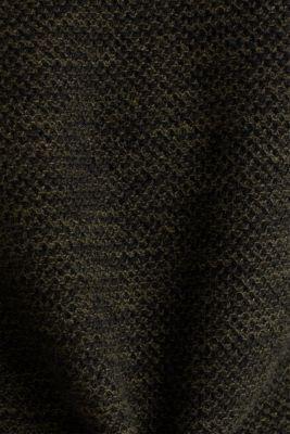 Textured jumper made of 100% cotton, KHAKI GREEN, detail