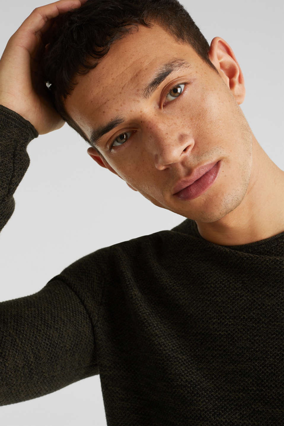 Textured jumper made of 100% cotton, KHAKI GREEN, detail image number 5