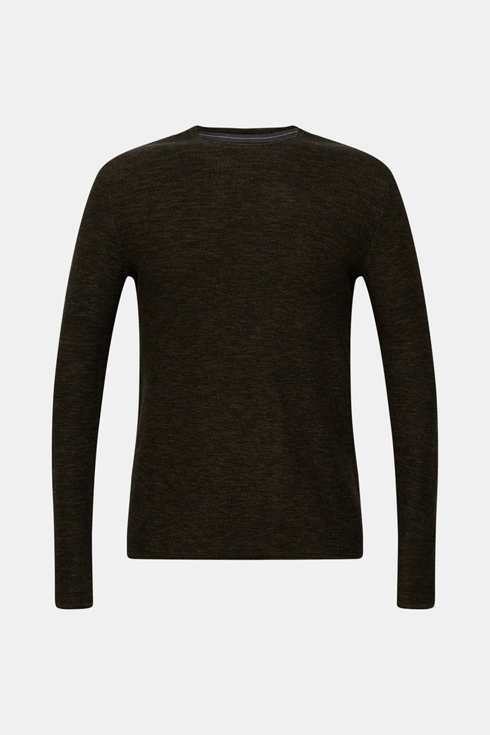 Textured jumper made of 100% cotton, KHAKI GREEN, detail image number 6