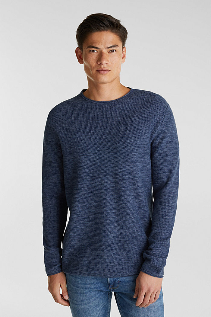 Textured jumper made of 100% cotton, NAVY, detail image number 0