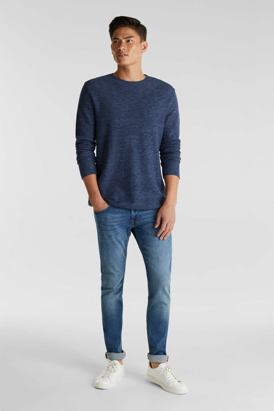 Textured jumper made of 100% cotton, NAVY, detail image number 1