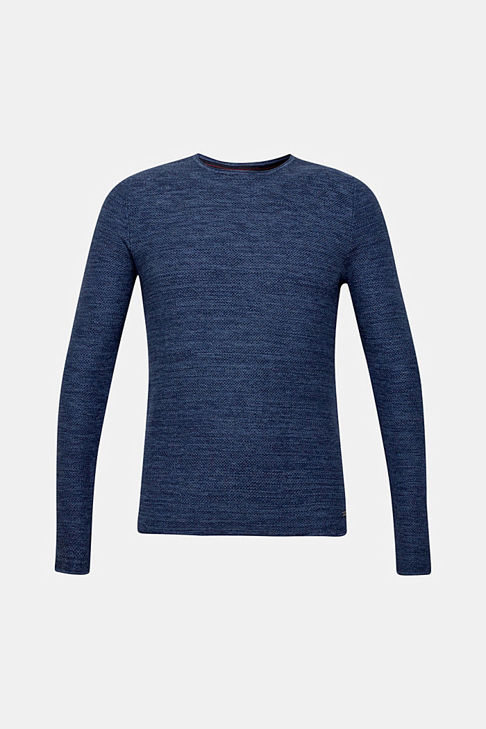 Textured jumper made of 100% cotton, NAVY, detail image number 6