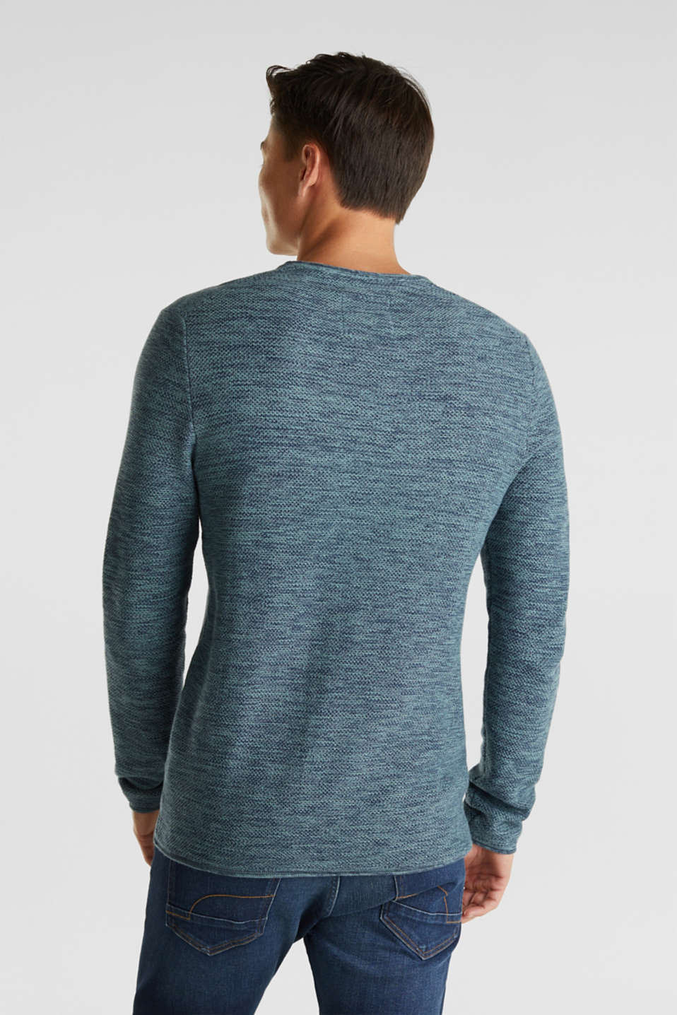 Textured jumper made of 100% cotton, TURQUOISE, detail image number 3