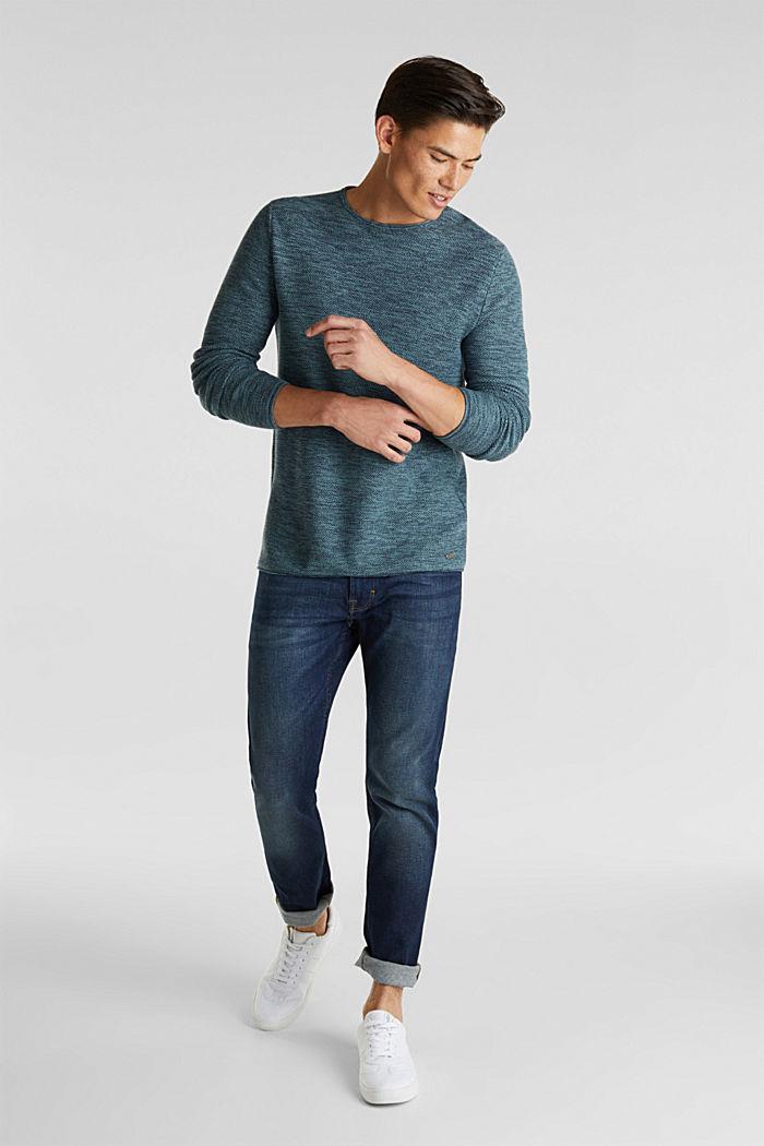 Struktur-Sweater aus 100% Baumwolle, TURQUOISE, detail image number 1