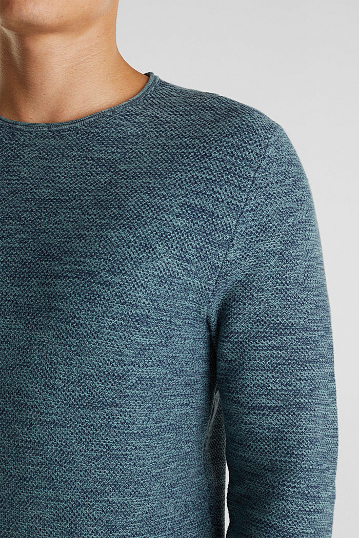 Pullover strutturato in 100% cotone, TURQUOISE, detail image number 2
