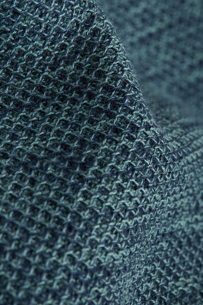 Textured jumper made of 100% cotton, TURQUOISE, detail image number 4