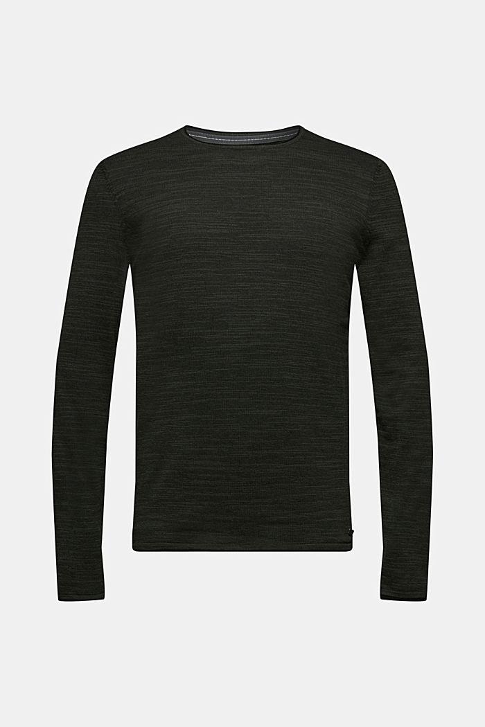 Two-tone jumper, cotton blend, KHAKI GREEN, detail image number 0