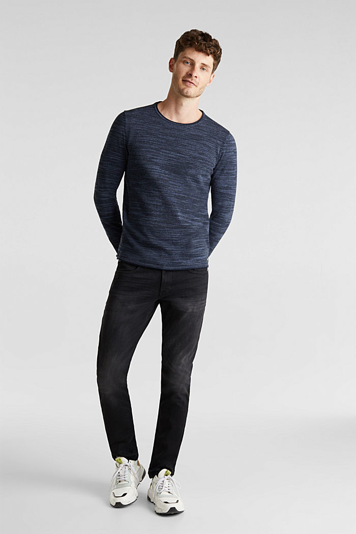 Two-tone jumper, cotton blend, NAVY, detail image number 1