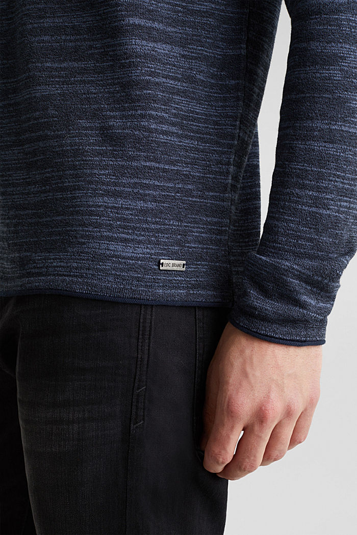 Two-tone jumper, cotton blend, NAVY, detail image number 5