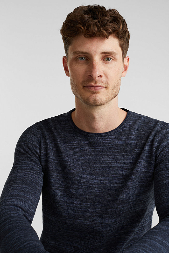 Two-tone jumper, cotton blend, NAVY, detail image number 4