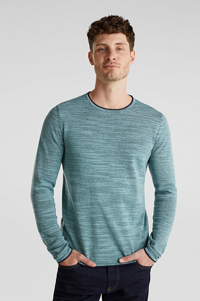 Two-tone jumper, cotton blend, TURQUOISE, detail image number 0