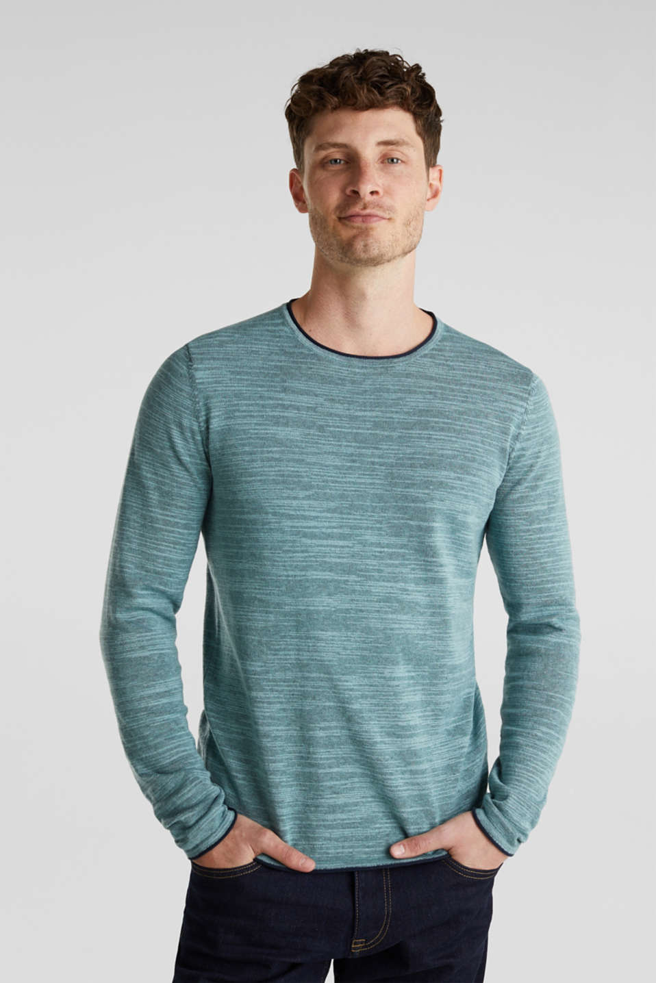 edc - Jumper made of bi-colour blended cotton yarn