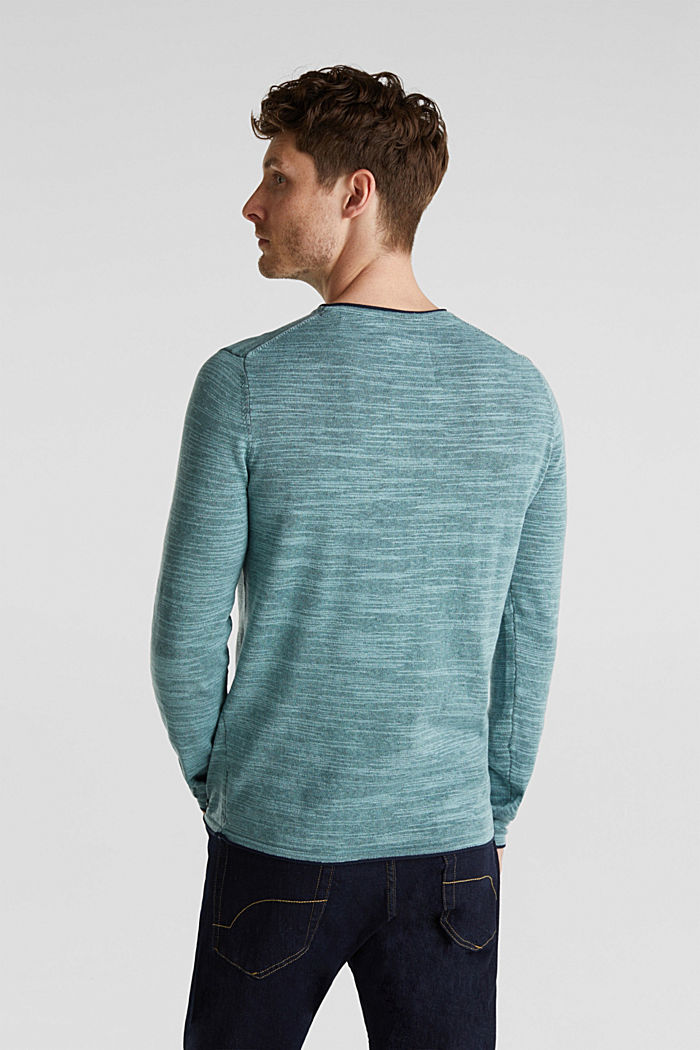 Two-tone jumper, cotton blend, TURQUOISE, detail image number 3