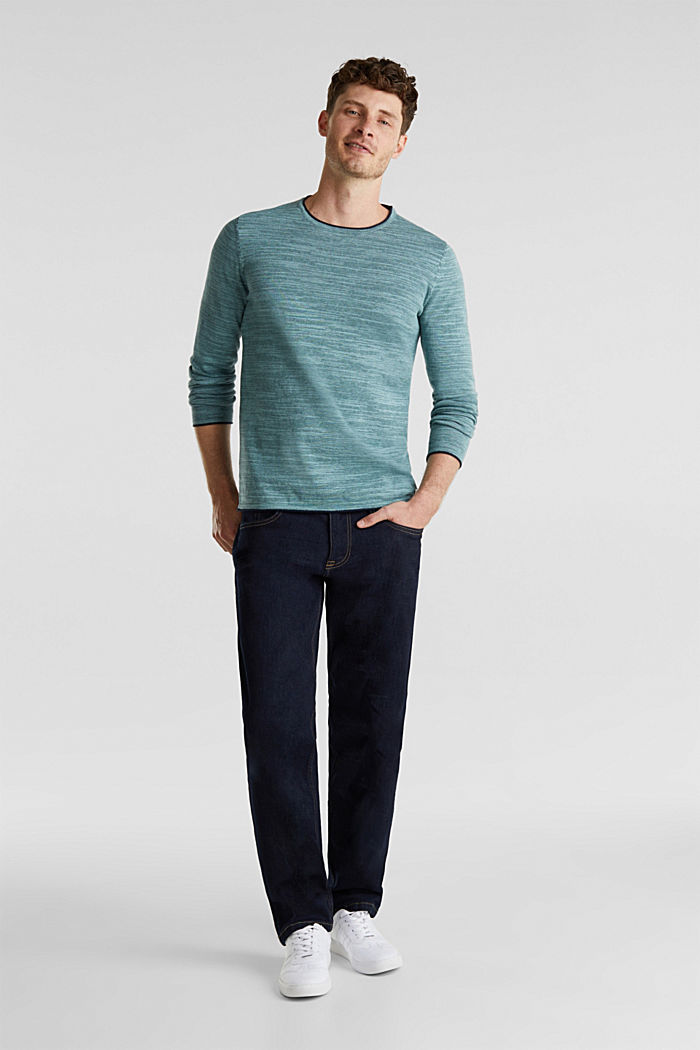 Two-tone jumper, cotton blend, TURQUOISE, detail image number 1