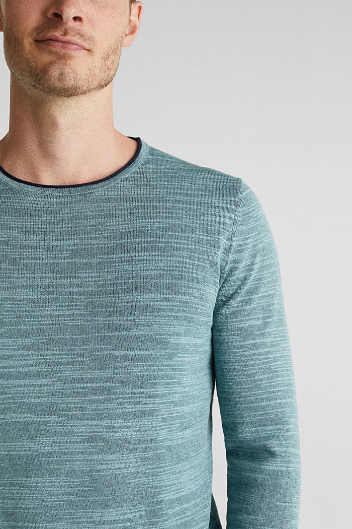 Two-tone jumper, cotton blend, TURQUOISE, detail image number 2