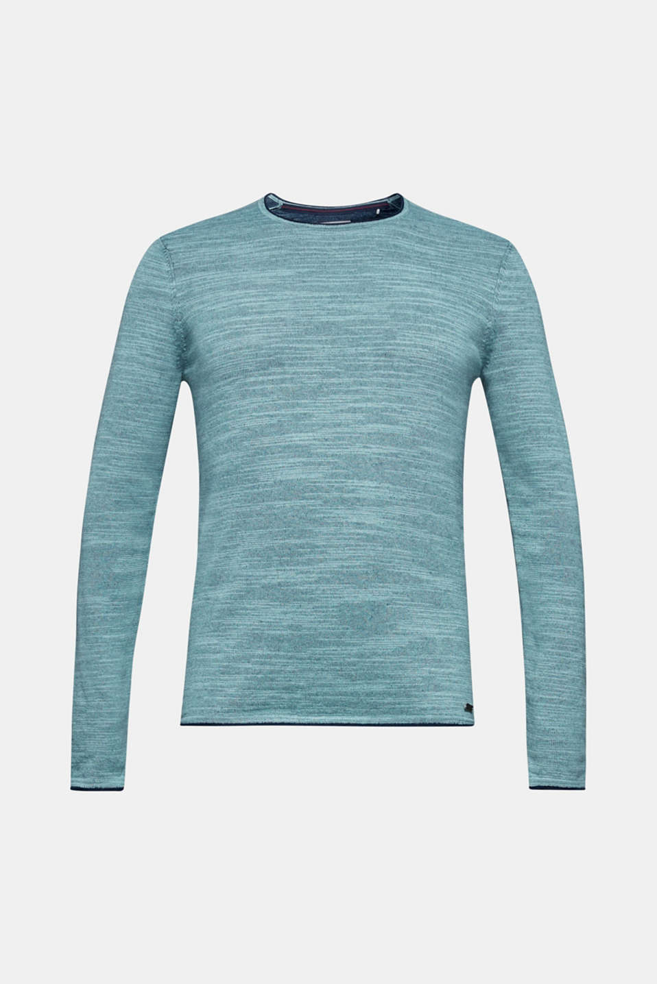 An EDC classic - back in stock: bi-colour knit jumper with cool, rolled edges.