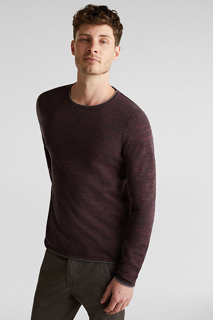 Zweifarbiger Pullover, Baumwoll-Mix, BORDEAUX RED, detail image number 0