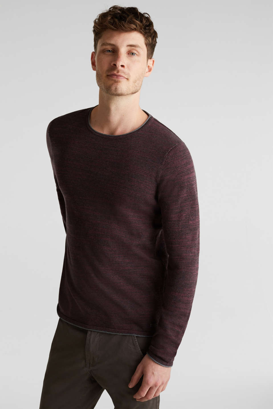 Jumper made of bi-colour blended cotton yarn, BORDEAUX RED, detail image number 0