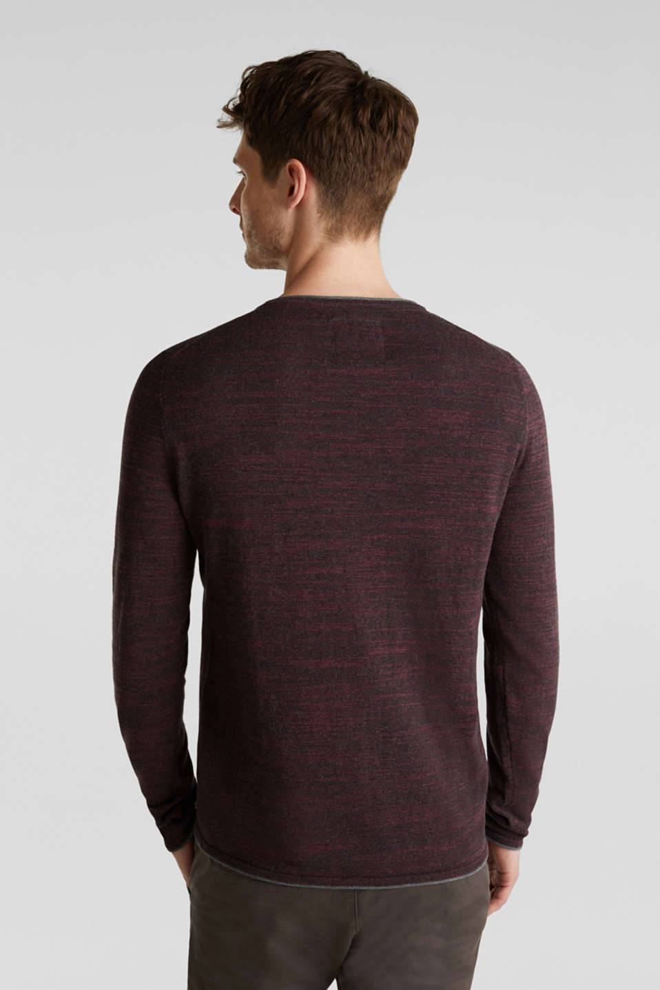 Jumper made of bi-colour blended cotton yarn, BORDEAUX RED, detail image number 3