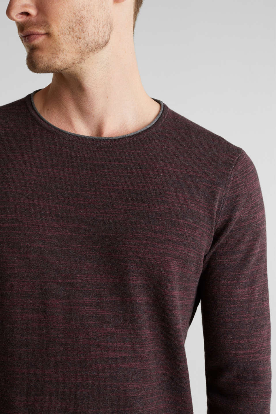 Jumper made of bi-colour blended cotton yarn, BORDEAUX RED, detail image number 2