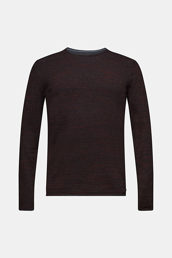 Zweifarbiger Pullover, Baumwoll-Mix, BORDEAUX RED, detail image number 6